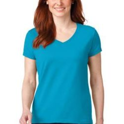 Ladies 100% Combed Ring Spun Cotton V Neck T Shirt Thumbnail