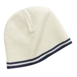 Fine Knit Skull Cap with Stripes Thumbnail